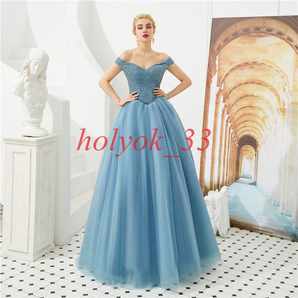 3 colors Green Evening Dress Long Off the Shoulder Princess Evening Gown Full Beaded Top Prom Dress 2019 Vestido de Fiesta