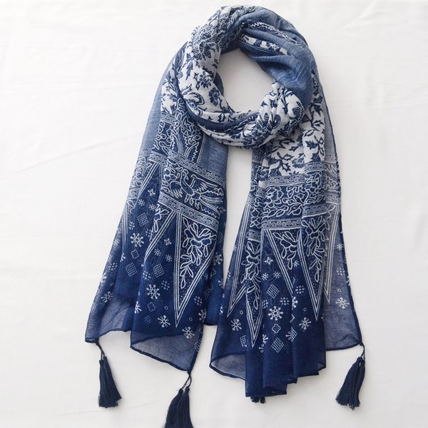 Printed Cotton and Linen Tassel Scarf Spring and Summer Thin Travel Blue and White Porcelain Sunscreen Shawl Beach Towel