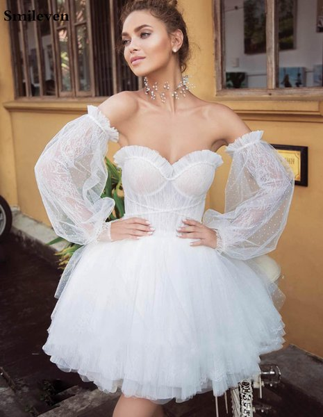 Removable Long Sleeves Wedding Dresses Lace Dotted Tulle Strapless Short Bridal Gown vestido de noiva Customize Plus Size