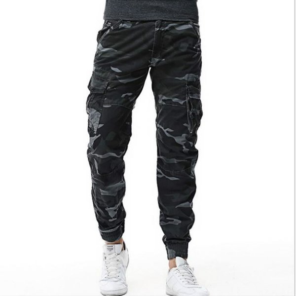 2019 men's Hip Hop Cargo Pants Streetwear Men Harem Pant male Multi Pocket Camo army Trousers  Baggy cotton sweatpants