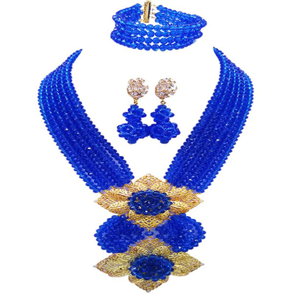 Africa Blue Crystal Women Party and Evening Beads Necklace Earrings Bracelet Sets 6C-HL-06