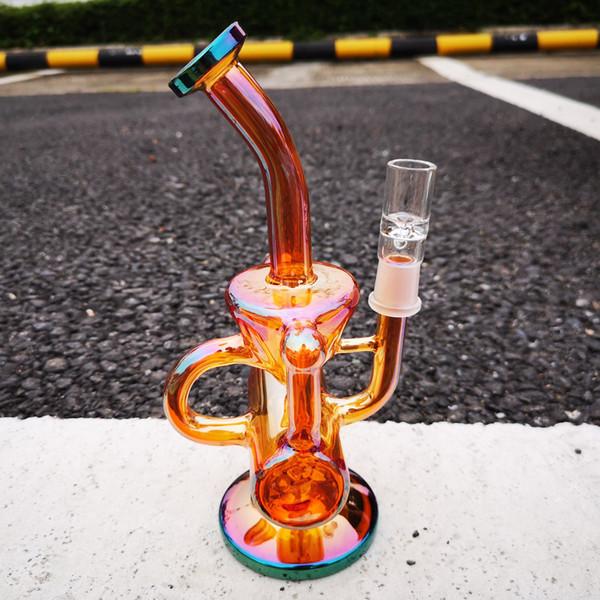 Glass Smoke Gun 22cm amber funnel shape Beaker bubbler Tobacco Cigar Pipe Hookah recycler glass bong oil dab rigs water pipe 14mm Joint