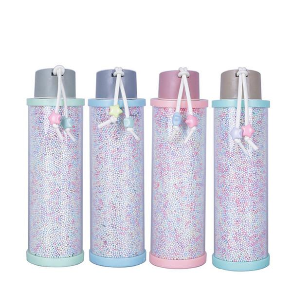310 ml de perlas de espuma de plástico botella de agua creativa de cristal Copa de fugas Prevención del color del caramelo vaso portátil Hombres Mujeres Taza LJJA3135