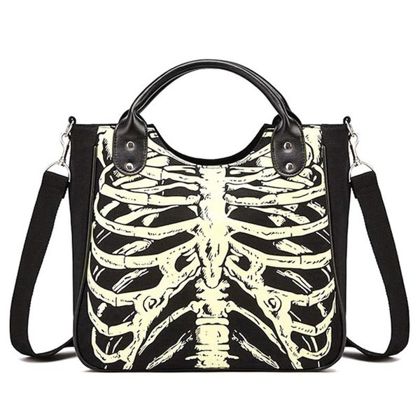 NOUVEAU-Lumineux Gothique Squelette Os Crânes Sacs Rock Designer Femme Casual Fourre-Tout Femmes Punk Sacs De Mode Sac À Main