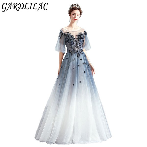 Gardlilac Elegant Gradient Butterfly Applique Beads Tulle Aline Evening Party Gowns Prom Homecoming Long Dresses Junior