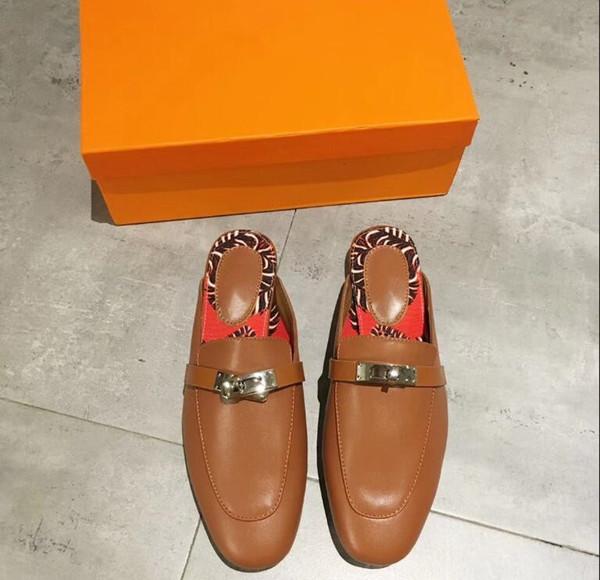 Sandalias de cuero genuino Zapatillas de piel Italia Diseñadores de primeras marcas Diapositivas Zapatos de diseño Mocasines Señoras Zapatillas casuales de Free DHL