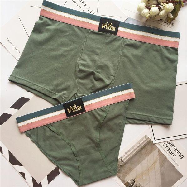 2 pcs/set Solid Couple Panties Underwear Hot Brand Men Boxers Women Homme Cuecas Cotton Sexy Male Lady Lover Underpants