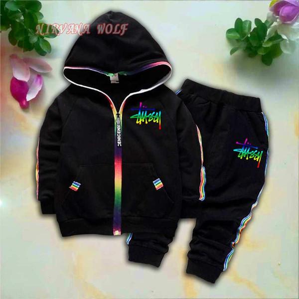 STSY Crianças Cardigan Coats Calças 2 Pçs / sets 1-4 T Conjuntos de Esporte Crianças Rainbow Zipper Manga Comprida Colorida Tarja Coloridos Lerrers Terno de Verão