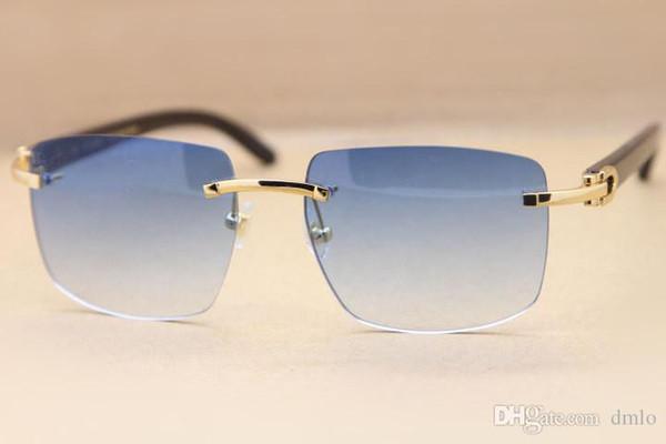 Marca Gafas de sol Gafas de búfalo negras Gafas de sol Gafas de sol de moda Gafas de sol sin montura de cuerno genuino Marco con caja original