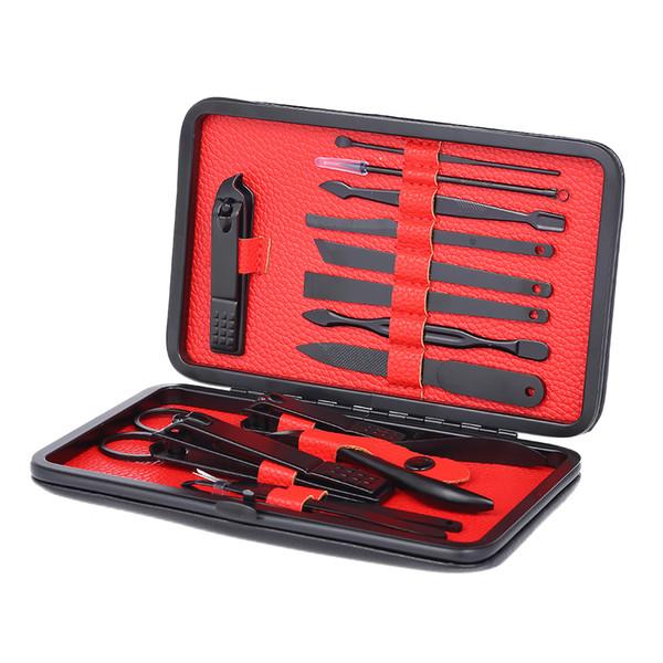 15 Stücke Tragbare Maniküre Pediküre Set Schere Pinzette Messer Ohr pick Utility Nagelknipser Kit Nagelpflege Werkzeug Edelstahl