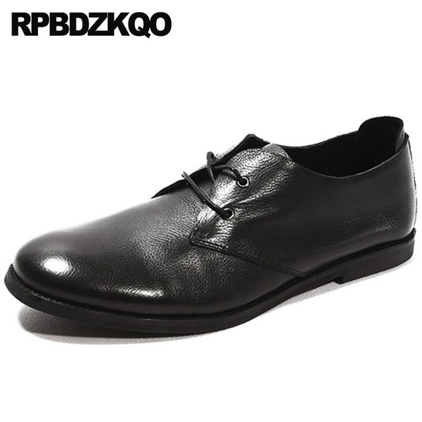 Hombres de alta calidad de estilo británico europeo 2018 cuero genuino Oficina Oxfords suela de goma zapatos de vestir italiano Italia Negro Vintage