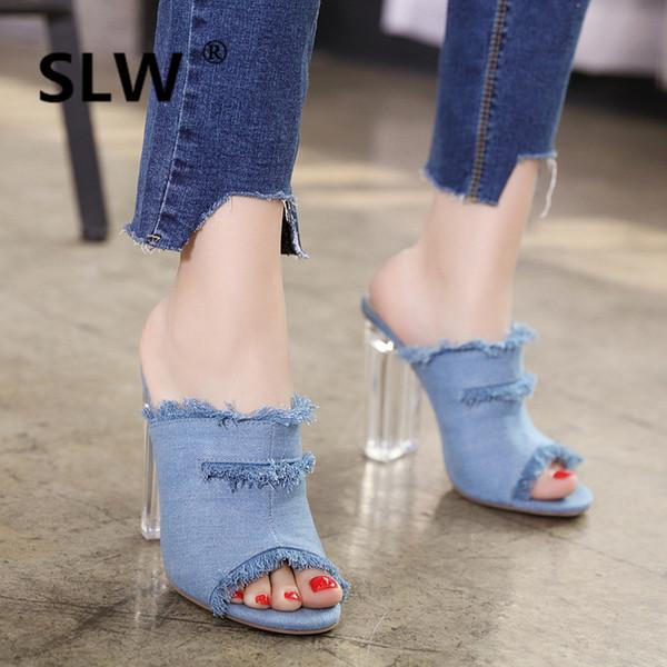 Womail Women Summer High Heels Denim Shoes Open Peep-Toe Pumps Sandals for Girl