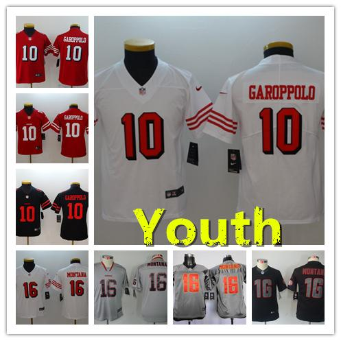 online retailer 6da16 d3dd5 Youth 10 Jimmy Garoppolo Jersey San Francisco 49ers Kids Football Jersey  Stitched Embroidery 16 Joe Montana Color Rush Boys Football Shirt Long  Sleeve ...