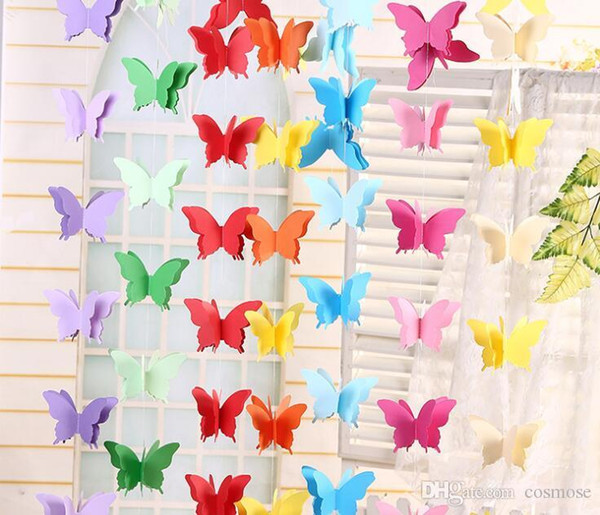 Butterfly Paper Pulled Flower Decoration Wedding Navidad Party Backdrops Baby Shower Birthday Party Festival Diy Decoration Discount Party Supplies