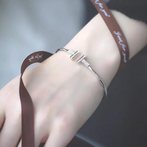 2019 top designer de jóias de luxo mulheres pulseiras famoso pulseira dupla T-em forma de mulheres e homens anel de diamante aberto, bracelete anel de aniversário gif