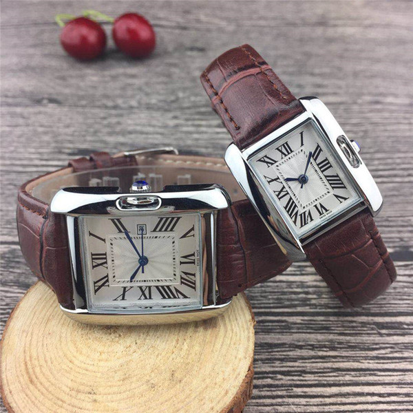 Couple Luxury brand women men watches Fashion Leather strap Silver/Gold Rectangle Wrist watch for Mens Ladies best Valentine gift relogios