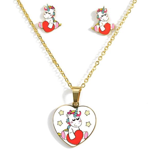 14 Scelte Set di gioielli in acciaio inossidabile Set di gioielli per bambini in catena Set di gioielli per unicorno