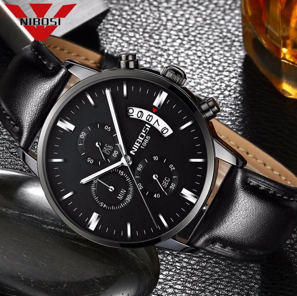 Mens Watches Top Waterproof Sport Wrist Watch Chronograph Quartz Genuine Leather Relogio Masculino NIBOSI