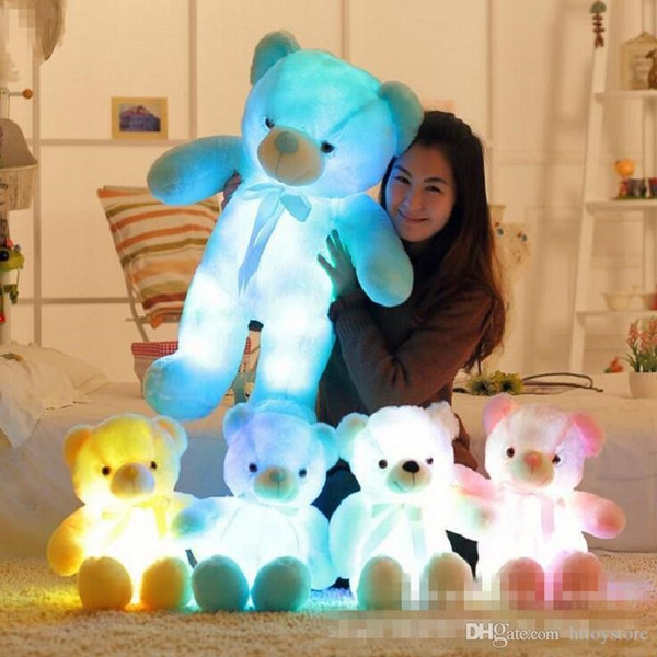 Big 50cm Colorful Glowing Teddy Bear Luminous Plush Toys Kawaii Teddy Bear Stuffed Toys Doll with Led Light Cute Bear Plush Toy