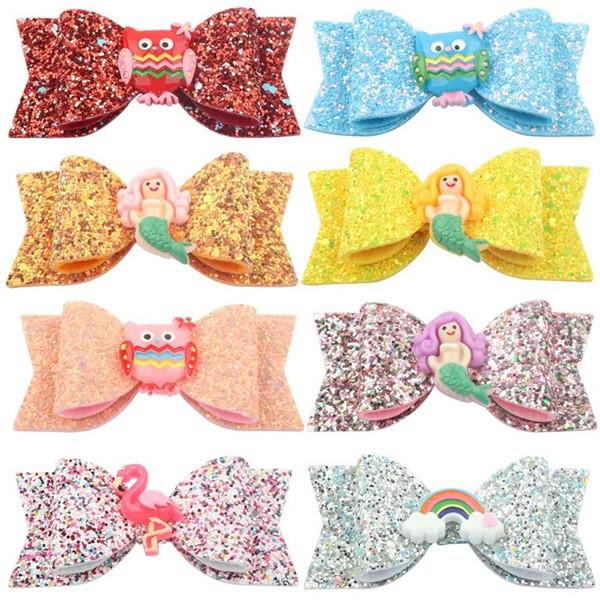 Free DHL Shipping About 3.5inch Kids Girls Hair Barrettes Unicorn Rainbow Floral Sequins Bows Hair Clippers Mermaid Clips Hair Accessories
