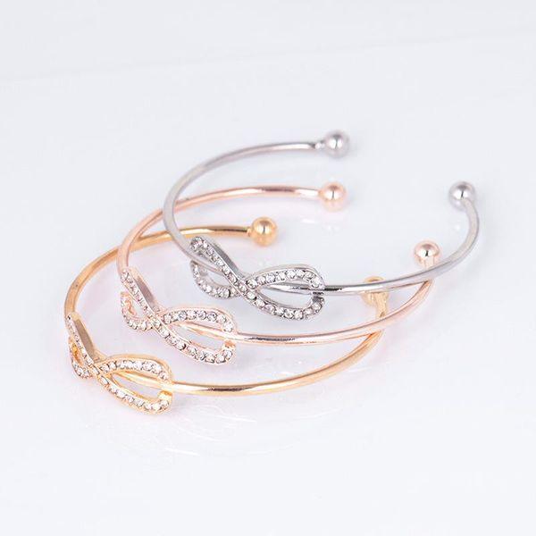 8 Kristal Bilezik Bileklik Moda 8 Şekil Geometrik Zarif Charm Bilezik Bileklik Infinity Aşk Siver Güzel Bileklikler Bilezikler