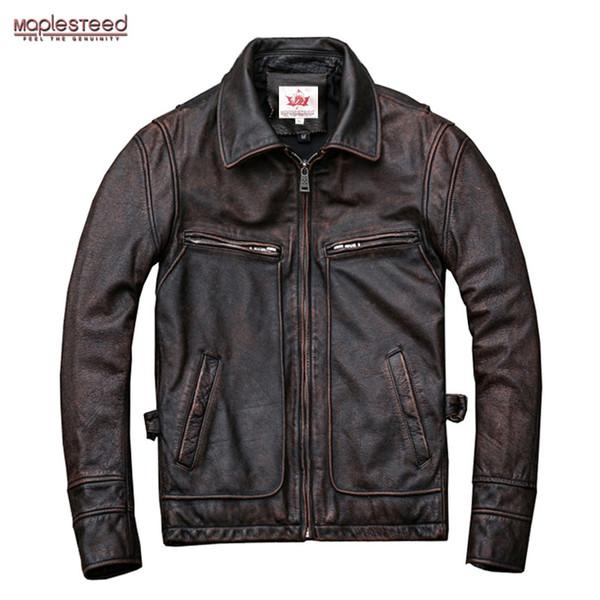 MAPLESTEED Brand Amekaji Motor Biker Style Men Leather Jacket Black Red Brown Cowhide Vintage Jackets Men Winter Coat 5XL M100