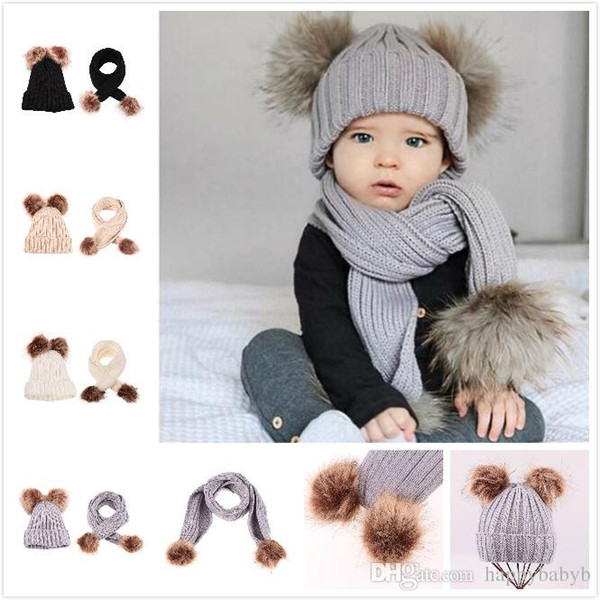 New Arrival baby kids Knitted Winter Hats Scarf Set Ball Hat Pom Pom Beanies Baby Girls Warm Cap Scarf Two Piece Sets
