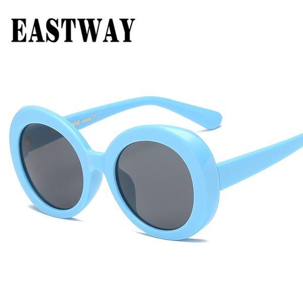 EASTWAY Occhiali da sole da donna rotondi classici in plastica Designer di marca Occhiali da sole vintage oversize UV400 Lunette De Soleil trasparente