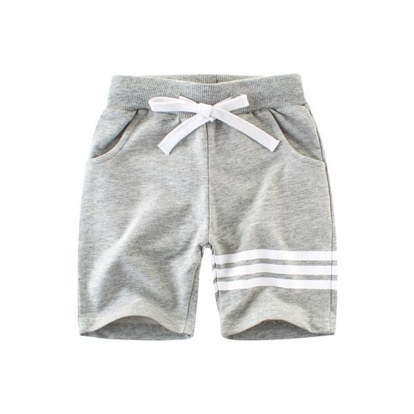 Kinder beiläufige Sport Shorts gestreifte Jungenkleidung 100% Baumwolle Terry String Taille fünf Hosen grau Navy Sommer Billig Großhandel