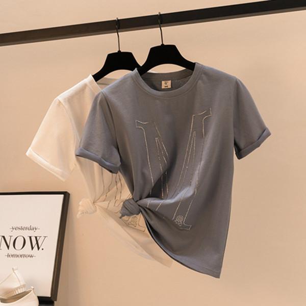 vente en gros de diamants lettre décorer les femmes d'été t-shirt 2019 d'été en coton tshirt à manches courtes top t-shirts