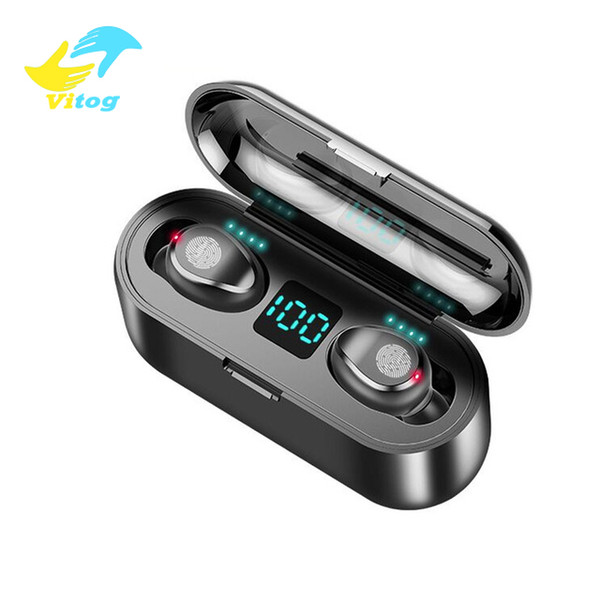 top popular Vitog F9 TWS Wireless Earphones Bluetooth V5.0 sport Earbuds Gaming Headphones 2000mAh Power Bank Headset With Microphone and LED Display 2021