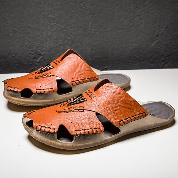 Desgaste do couro do verão dos homens de fundo macio sandálias de couro antiderrapante preto tamanho grande 38-48 sapatos de praia