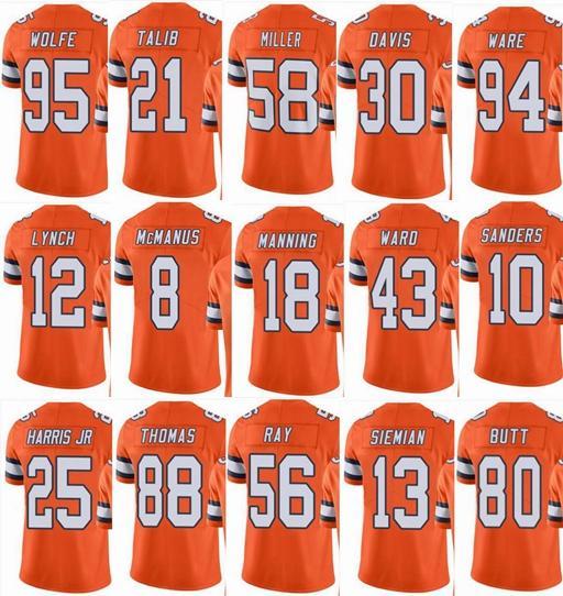 ДенверМустангов 58 Von Miller 7 John ELWAY 10 Эммануэль Сандерс 18 Peyton Manning 88 Мужчины Женщины Молодежь Rush Элит футбола Mens