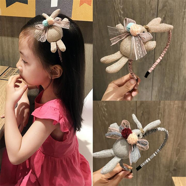 New Cute Gold Silk 3D Rabbit Bow Hair Ball Children Headband Korean Style Girls Hairband Creative Jewelry Hair Accessories