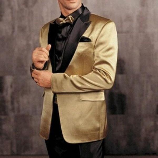 Custom Made Groom Tuxedos Best Man Peak Gold Satin Lapel Groomsmen Best Man New Arrival Wedding Suits Two Pieces ( Jacket+Pant )