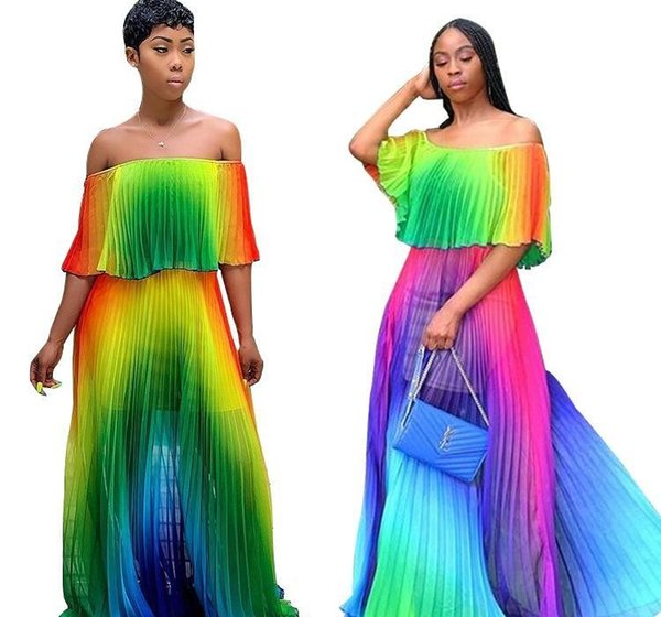 2019 donne chiffon della stampa di pendenza spiaggia tie dye off farfalla della spalla del manicotto maxi a pieghe vestito sexy boho lunghi abiti di alta qualità