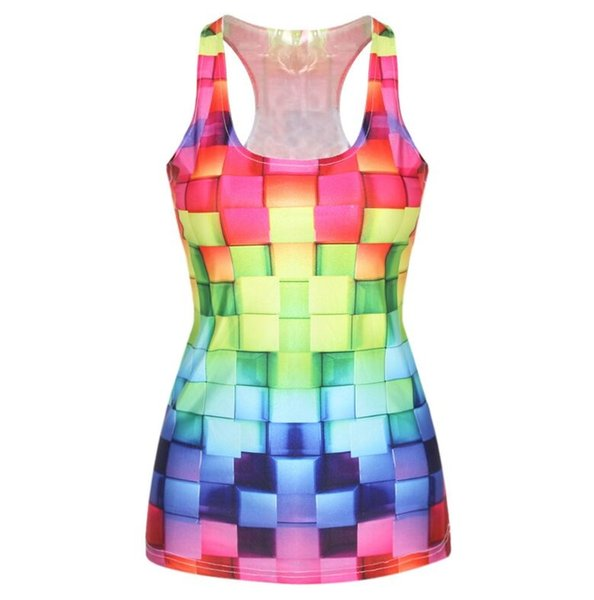 Multi Colors Printed U Neck Tank For Summer Ladies Dance Gym Tops Sleeveless Sports T-shirt Yoga Clothes canotte palestra donna #198198