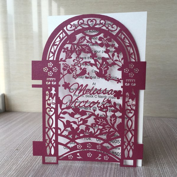 Lovers Birds Hollow Design For Wedding Invitation Chinese Vintage Charming Traditional Style Invitation Cards Engagement Create Your Own Wedding