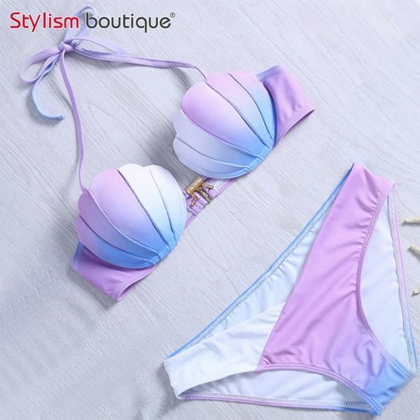 Bikini Womens Set Mermaid Shell Bra Swimwear Padded Push up Swimsuit Hot