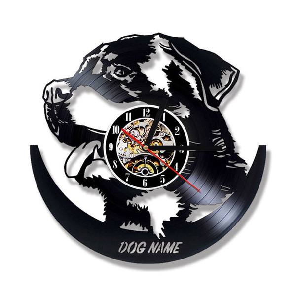 Animal Wall Clock Modern Design DIY Your Dog Name Clocks Vintage Retro  Record Wall Watch 3D Stickers Silent Home Decor