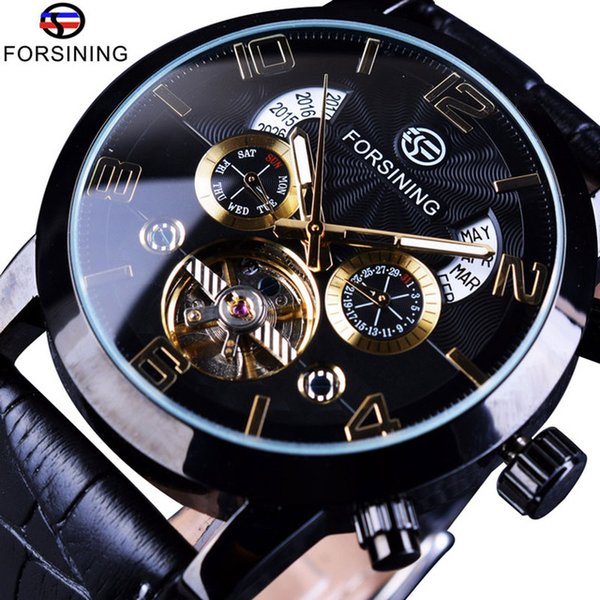 Forsining Tourbillion Fashion Wave Black Golden Clock Multi Function Display Mens Automatic Mechanical Watches Luxury Leather Strap Watch
