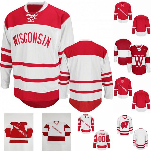 Erkek NCAA Wisconsin Porsukları RETRO Nakış Kişiselleştirilmiş Özelleştirmek Herhangi bir numara herhangi bir numara Hokey Forması