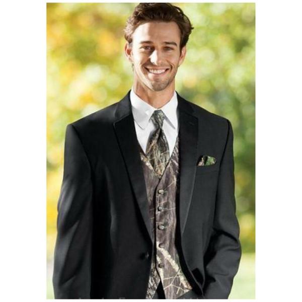 Fashion Black Groom Tuxedos 2019 One Button Slim Fit Notched Lapel Groomsman Suit Wedding Party Suit Porm Suits(Jacket+ Camo Vest+ Tie)
