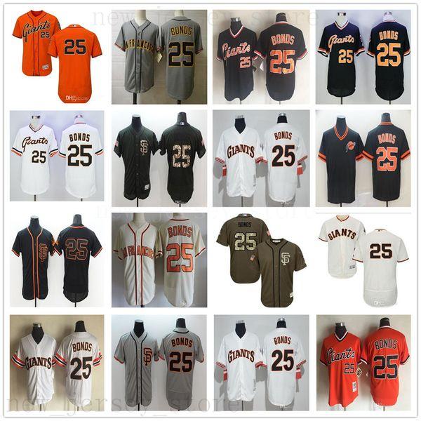 2017 Uomo 25 Barry Bonds Flexbase Sn Fo Giants Barry Bonds 100% maglie da baseball cucite 1989 Retro Cool Base Bianco Grigio Arancione Nero