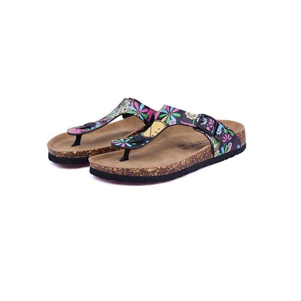 best selling Hot Sale-New Beach Cork Flip Flops Slipper 2017 Casual Summer Women Mixed Color Print Slip on Slides Sandals Flat Shoe