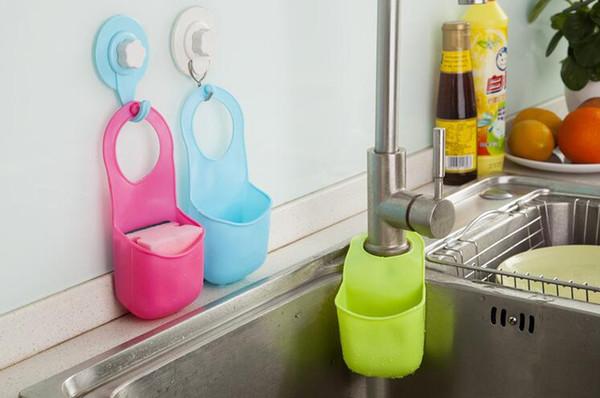 Creative sink hanging basket Pvc Mini Bathroom Hasp Hook Shelves Soap Holder Kitchen Dish Cloth Sponge Holder Storage