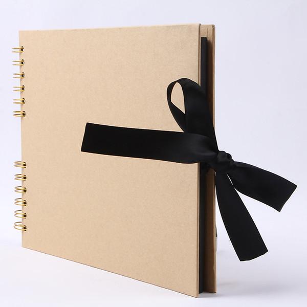Personnalisé LOGO Bobine en métal DIY album arc ruban ruban album photo à la main kraft papier noir carton scrapbook personnalité étudiant notebook01