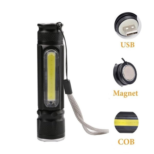 Portable Led Flashlight COB LED Pen Light Clip Magnet 5000LM USB Rechargeable Work Torch Inspection Lamp