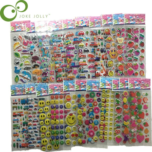 best selling brand 5pcs lot 10 patterns can choose Fashion Brand Kids Toys Cartoon 3D Children girls boys PVC Bubble Stickers YYY