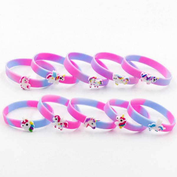 Las ventas calientes coloridas pulseras del unicornio para los regalos del festival de los cabritos Womens Cuff brazaletes plásticos de la manera Joyería de la manera Enviar al azar